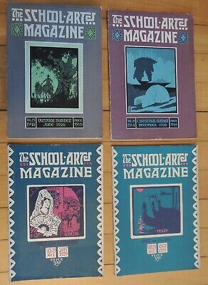 "Vintage  Lot of 4 ""School Arts"" Magazines 1920s Arts & Crafts Style"
