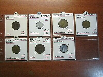 Germany Pfennig coins in 2x2 coin flips 1916 to 1977 bulk lot