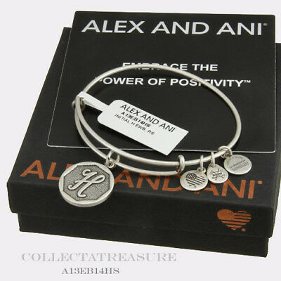 Authentic Alex and Ani Initial H Rafaelian Silver Charm Bangle