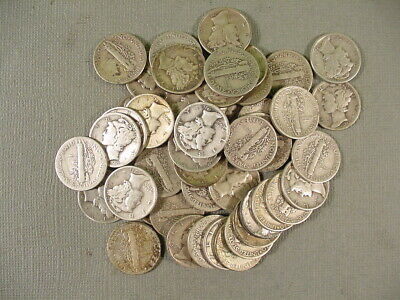 Roll of 50 Mercury Dimes $5 Face Value 90% Silver Mixed Late Dates 1934-1945