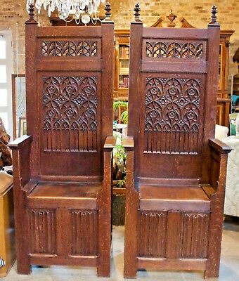 Pair of ANTIQUE GOTHIC THRONE CHAIRS  FRANCE 1880 CARVED QUARTER SAWN OAK