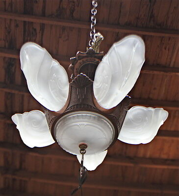 Art Deco SLIP SHADE Chandelier, Ready to Hang c1930