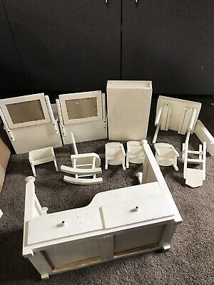 Vtg OOAK  lot White wooden Barbie Doll kitchen Furniture Bed vanity table chairs