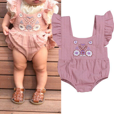 Newborn Infant Baby Girl Cotton Romper Jumpsuit Bodysuit Clothes Lovely Outfit