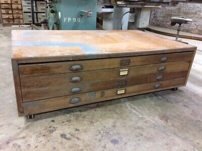 Antique Industrial Vintage Timber Wooden Plan Architect Art Drawers Cabinet