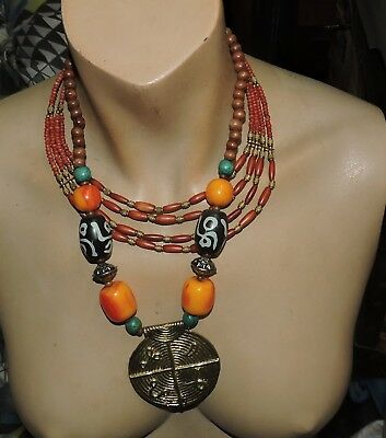 c39 -  2 vintage tribal  amber necklaces  1. necklace has faux a