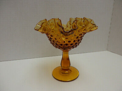 Vintage Antique Fenton Hobnail Pedestal Ruffled Amber Candy Dish With Stamp