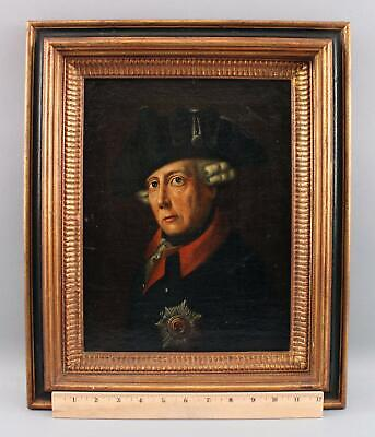 19thC Antique Portrait Oil Painting 18thC King Frederick II The Great of Prussia