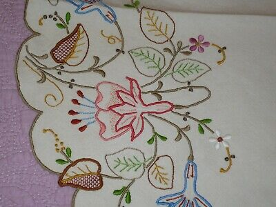 """Gorgeous Colorful Madeira Embroidered and Cutwork 18 1/2"""" Linen Table Round"""
