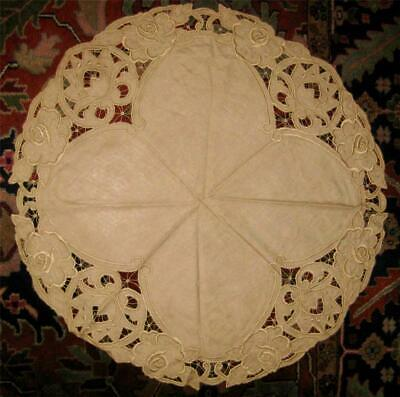 antique Natural Linen ARTS & CRAFTS Rd TABLECLOTH Topper Hand Embroidery CUTWORK