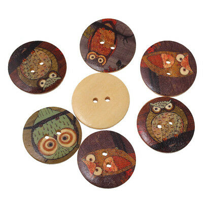 50Pcs Owl Printed Round 2 Holes Wooden Buttons DIY Crafts Sewing Scrapbooking