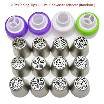 12Pcs Russian Flower Stainless Steel Icing Piping tips Nozzles Cake Baking Tool