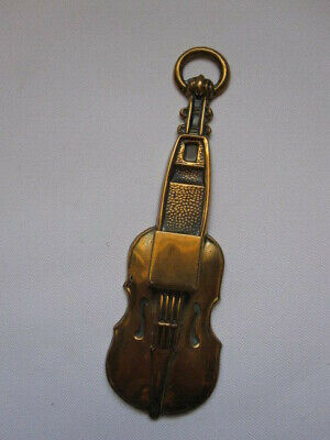 vintage unusual mid 20th century small brass VIOLIN form hanging match holder