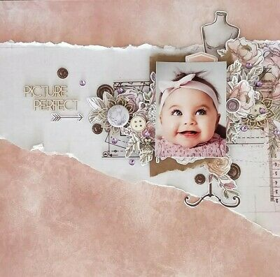 "Handmade Mixed Media 12"" x 12"" Scrapbook Page - Picture Perfect"