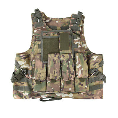1ff01f246c01a Camo Military SWAT Airsoft Tactical Vest Army Molle Hunting Paintball  Carrier