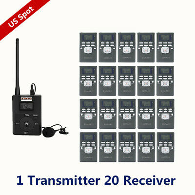 Wireless Tour guide System 1 Transmitter 20 Receivers For Training Translation