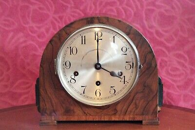 Vintage Art Deco German 8-Day Mantel Clock with Westminster Chimes