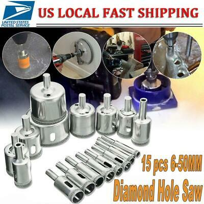 15 pcs 6-50mm Diamond Coated Drill Bit Set Hole Saw Cutter Metal Tool Glass Tile