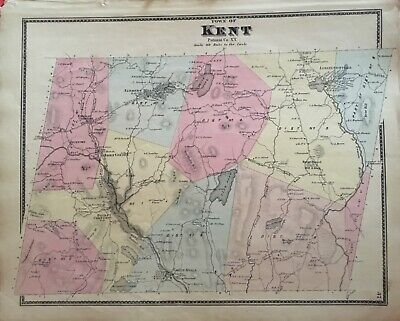 Town of Kent, New York Antique Original Map Beers, Ellis, Soule 1867