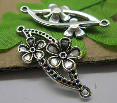 Free shipping 10/30pcs Antique silver Lovely Filigree flowers Charms connector