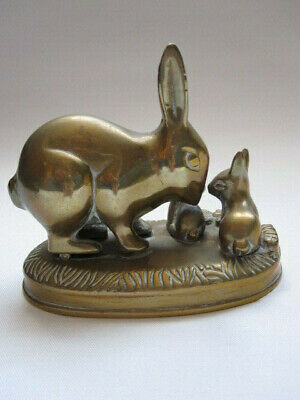 vintage brass rabbit family group figurine ornament desktop paperweight doorstop