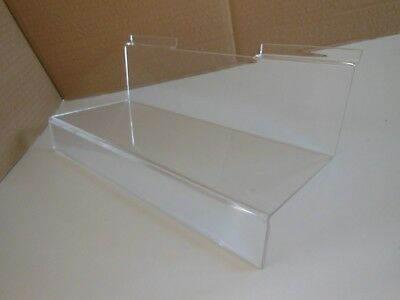 Acrylic Slat wall shoe shelf display stand with ticket facility.