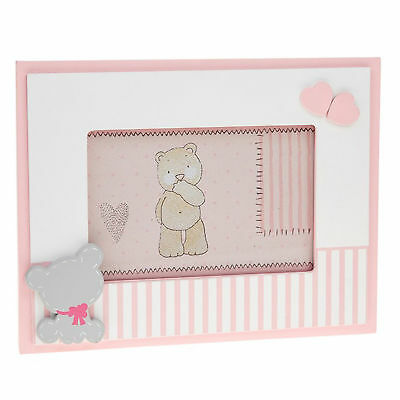 """New Baby 'Tiny Ted' Range - Pink 6""""x4"""" Photo Frame with Teddy Attachment"""
