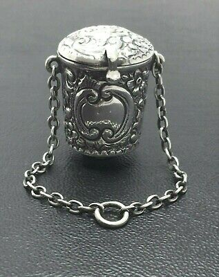 Antique Thimble STERLING SILVER Holder Chatelaine Ornate CHESTER 1902 Good Size