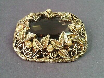 Sash Brooch Art Pin Nouveau Vintage Glass Smokey Metal Gilt Faceted Large 2 Tier