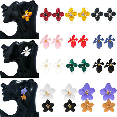 1 Pair Women Boho Painting Big Flowers Ear Stud Earrings Fashion Jewelry Gifts