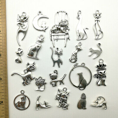 Wholesale Lot DIY Cat Antique Silver Jewelry Finding Charms Pendants Carfts