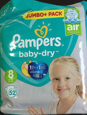 Pampers baby dry taille 8, paquet neuf 52 couches XXL adult baby ABDL diapers