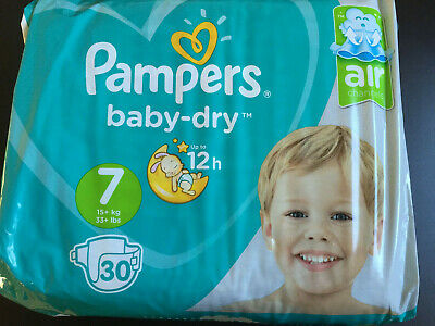 Pampers baby dry taille 7 paquet neuf 30 couches pipi au lit ABDL énurésie