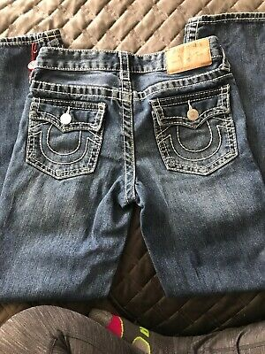 06f2bfb43 Used TRUE RELIGION Sz12 GENO SUPER T STRAIGHT BOYS JEANS MUDDY BLUE  DISTRESSED