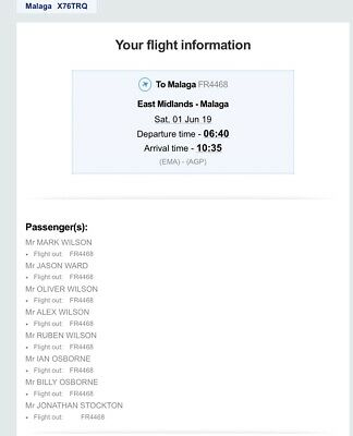 2 Flight Tickets To Malaga On Sat 1st June