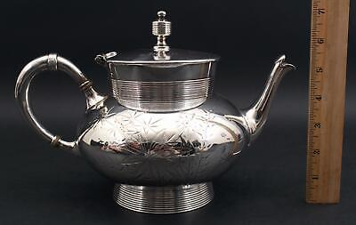 19thC Antique Aesthetic Mead & Robbins Philadelphia Etched Silverplate Teapot