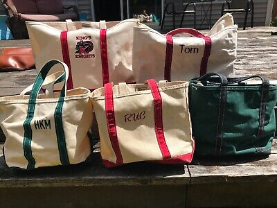 LL Bean Lot of 5 Boat And Tote Vintage bag zip various canvas Large XL M