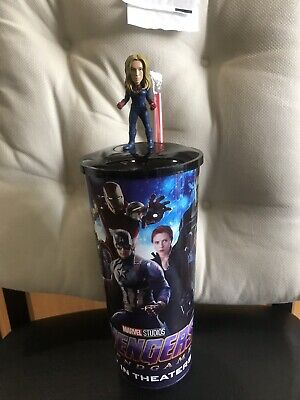 Avengers Endgame Theater Exclusive 44 oz Cup w/ Lid & Captain Marvel Topper