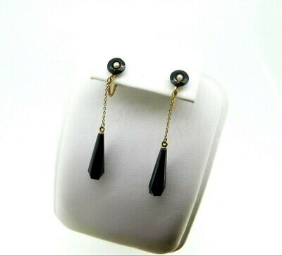 Victorian 10k Yellow Gold Black Jet /Glass and Seed Pearl Drop Earrings (#J4443)