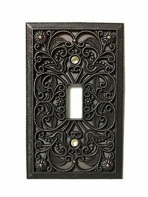 Arabesque Filigree Antique Bronze Toggle Switch Plate Wallplate Outlet Cover