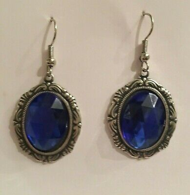 Victorian Style Silver Plated Mid Blue Crystal Oval Drop Earrings ...Hook