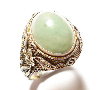Beautiful Vintage Or Antique Chinese Silver Ring Possibly Set With Jade