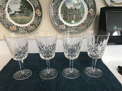 "SET of 4 Waterford 6 7/8"" LISMORE CUT CRYSTAL WATER GOBLETS GLASSES Stems MINT!"