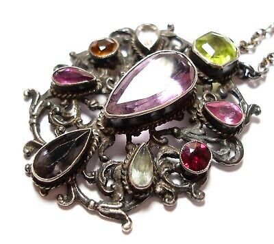 Beautiful Long Antique Victorian Or Edwardian Mixed Stone Necklace
