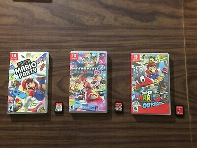 Mario Kart 8 Deluxe +Super Mario Odyssey +Mario Party (Nintendo Switch) Complete
