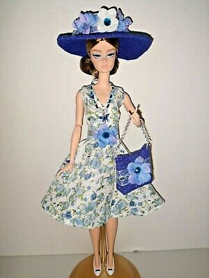 Barbie Silkstone Articulated Doll Fashion Clothes Outfit Blue Floral Dress