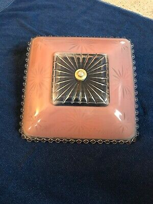 Pink Art Deco Glass Ceiling  Light Fixture Cover Starburst Vintage