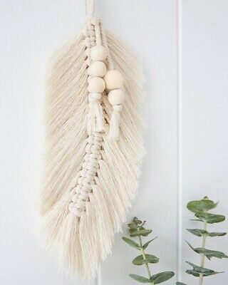 Macrame Wall Hanging Feather Leaf - Boho Decor Modern Macrame Wall Art