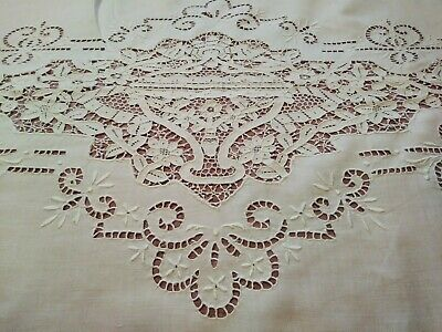 """Gorgeous Fine Italian Figural Needle Lace / Embroidered Linen Sheet 102""""x 70"""""""