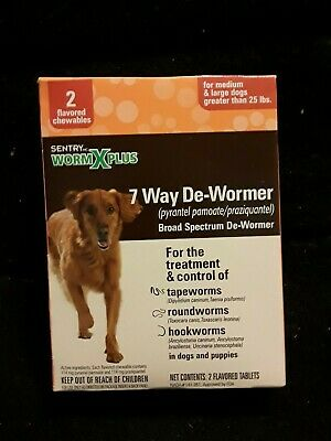 Sentry Worm X Plus 7 Way Dewormer  Large Dogs 2 Tabs 25 Lbs & Over Exp 09/2020